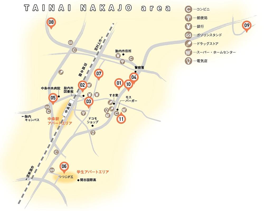 胎内市の地図